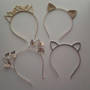 4 Metal Headbands with Animal Ears
